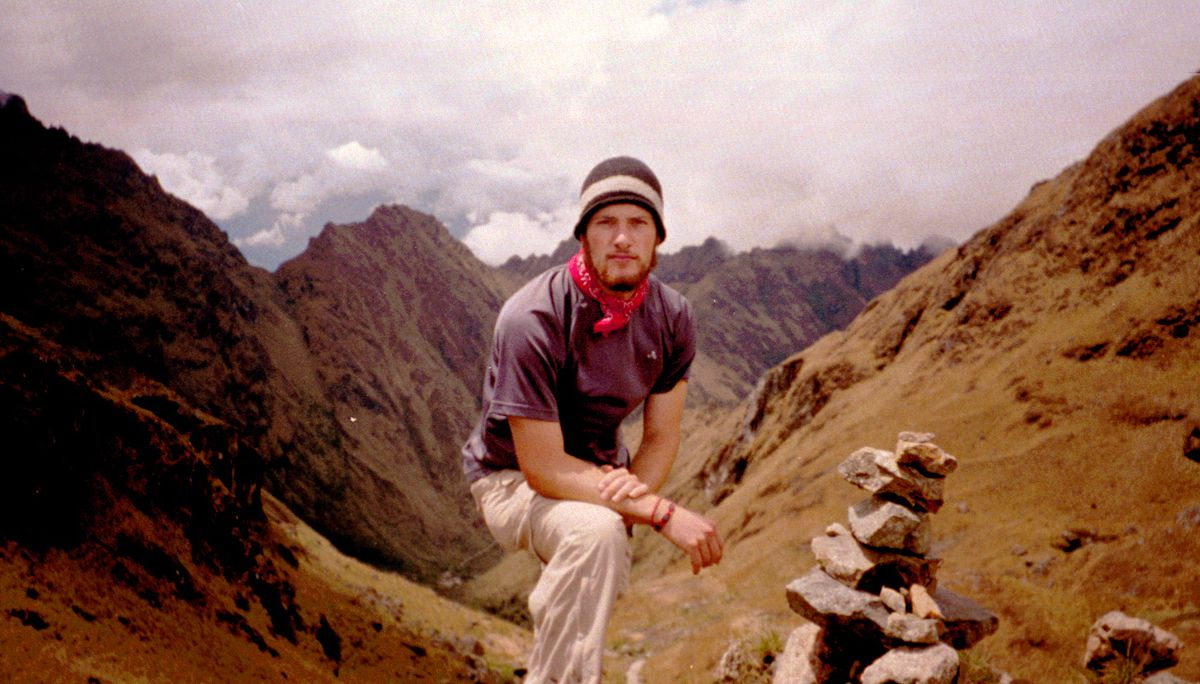 Chesa Boudin in the Peruvian Andes in 2002.