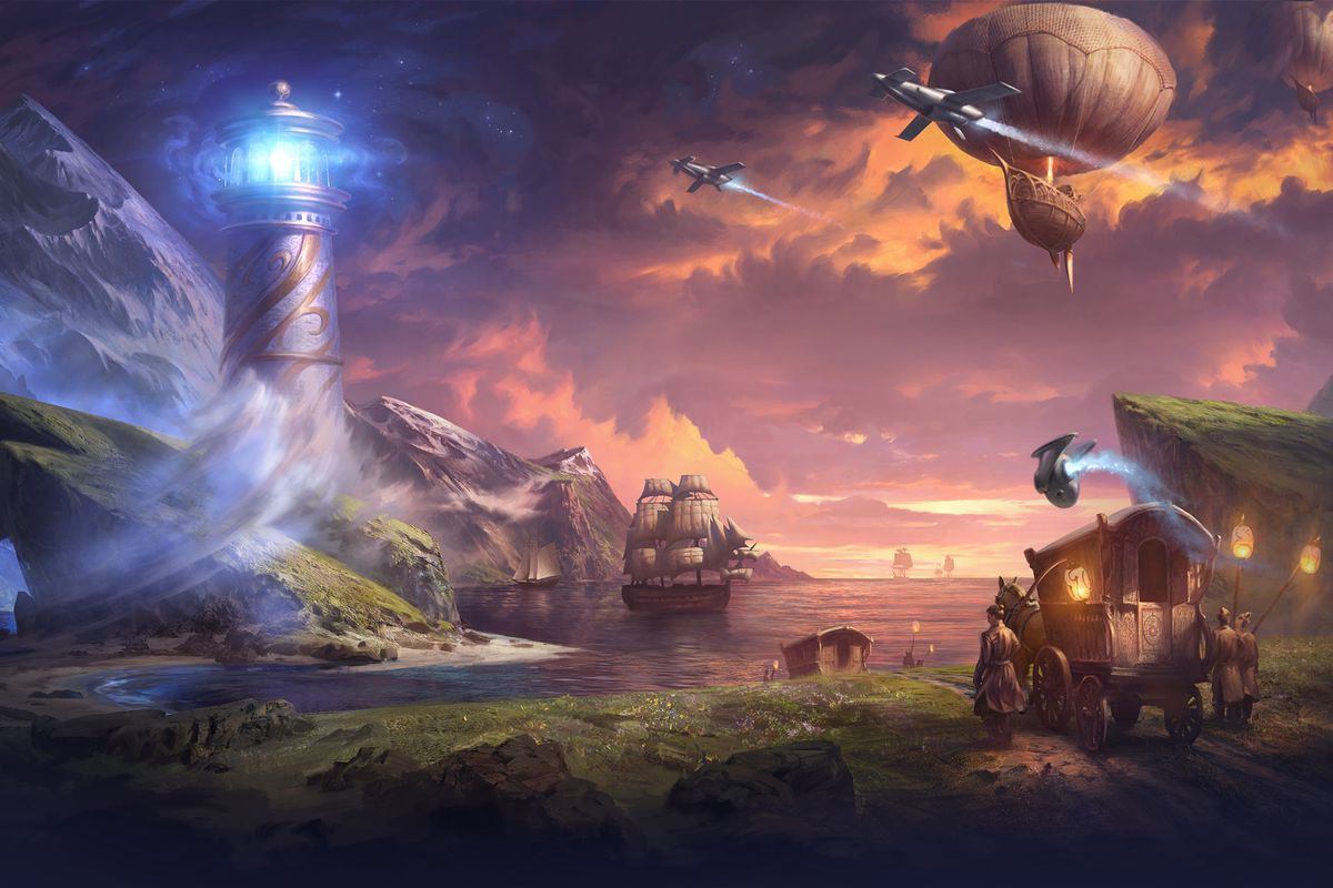 Artwork from the Dreamhaven website featuring a glowing lighthouse, spaceships, and airships.