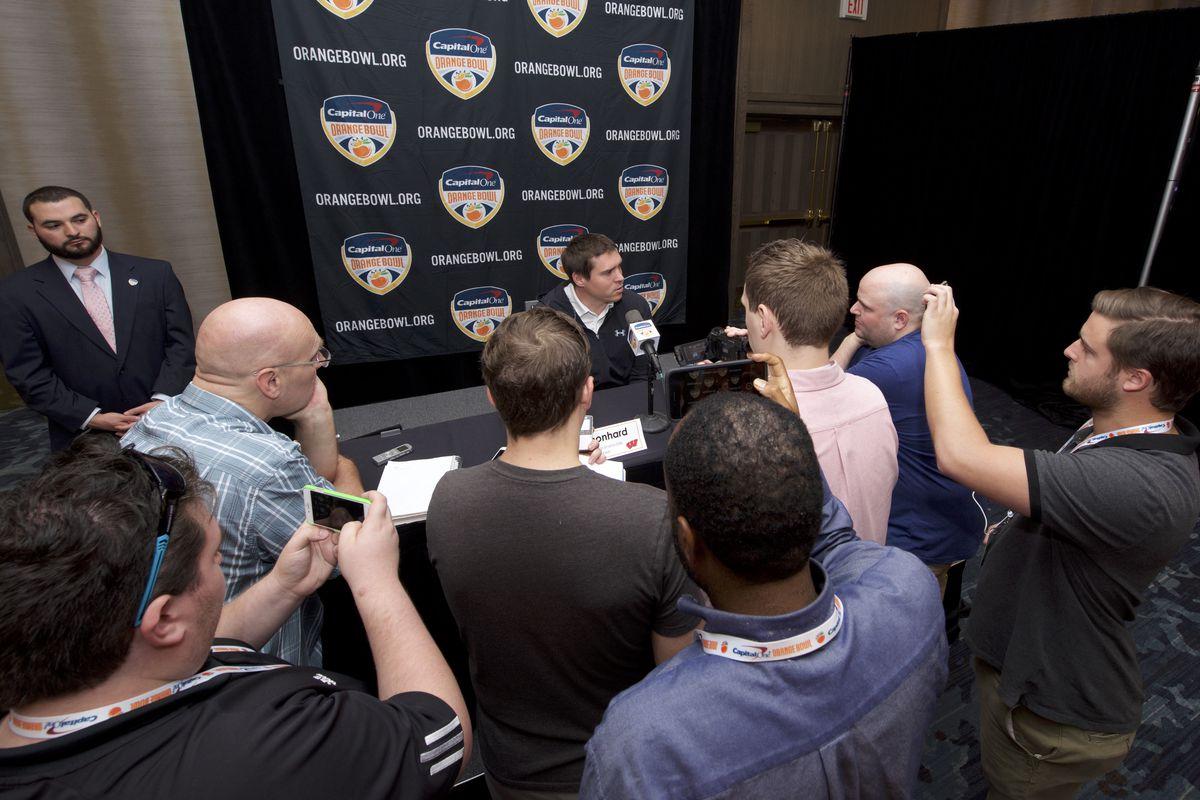 Jim Leonhard speaking at an Orange Bowl press conference on Thursday, Dec. 28.