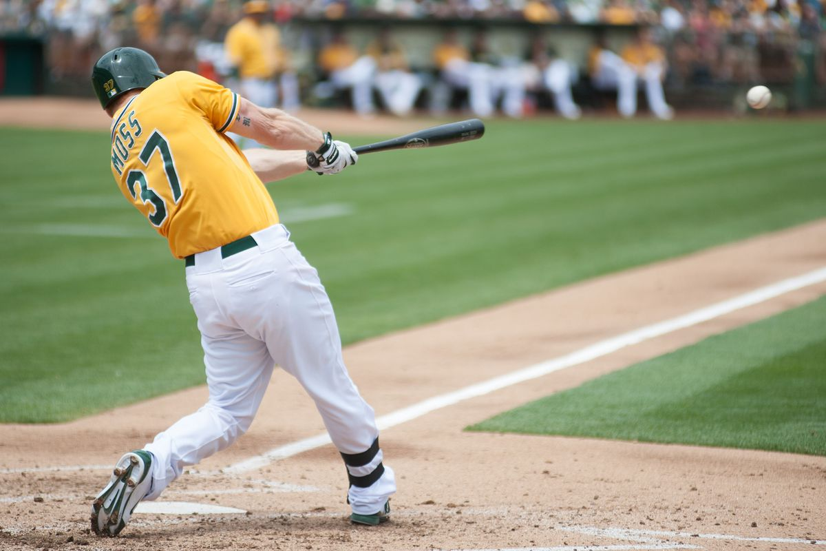 """If Brandon Moss wants to """"hit 'em where they ain't"""" he'll need swings like this one."""