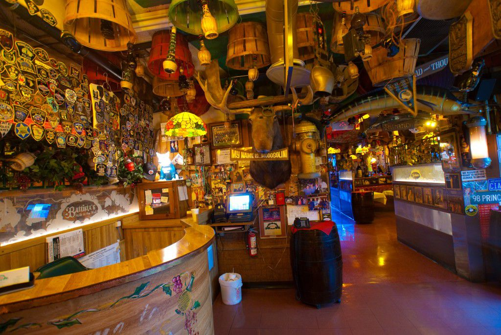 The interior of a restaurant with a lot of memorabilia