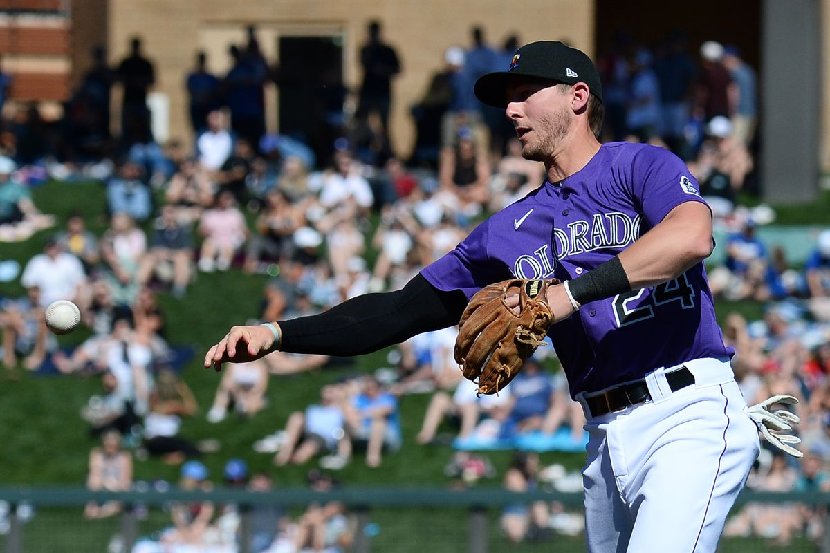 Colorado Rockies second baseman Ryan McMahon (24) throws to first base against the Los Angeles Dodgers during the third inning of a spring training game at Salt River Fields at Talking Stick.