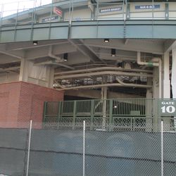 Dec 1: Scaffolding visible at the top of the bleacher ramp (center of photo) -
