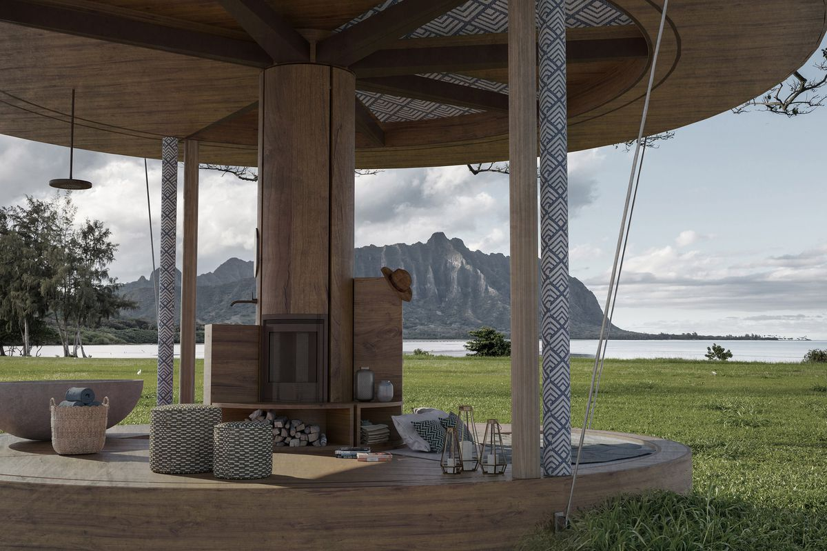Round tiny home open to elements.
