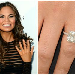 John Legend proposed to Chrissy Teigen in late 2011 with a cushion-cut diamond set between two pavé eternity bands.