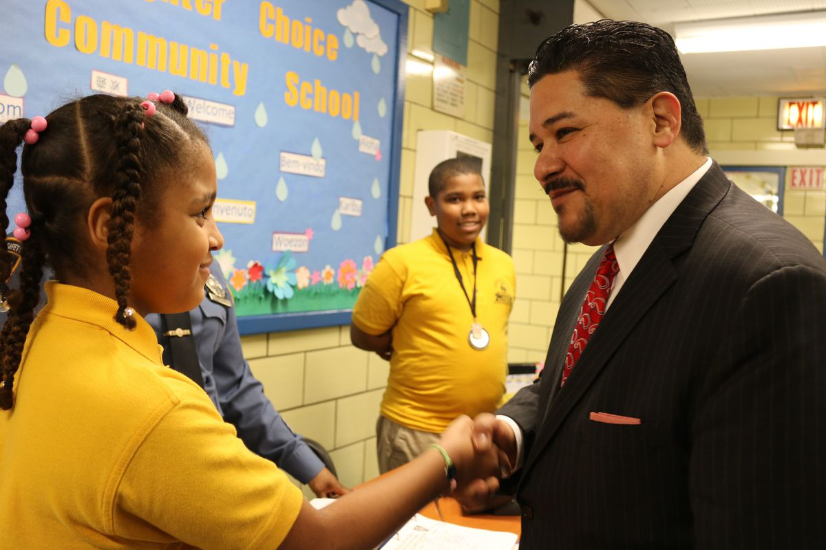 Carranza shook hands with students at Brighter Choice Community School in Brooklyn on the second day of a week of school tours.