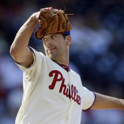 Philadelphia Phillies' Cliff Lee pitches in the first inning of a baseball game against the Miami Marlins, Wednesday, Sept. 12, 2012, in Philadelphia.
