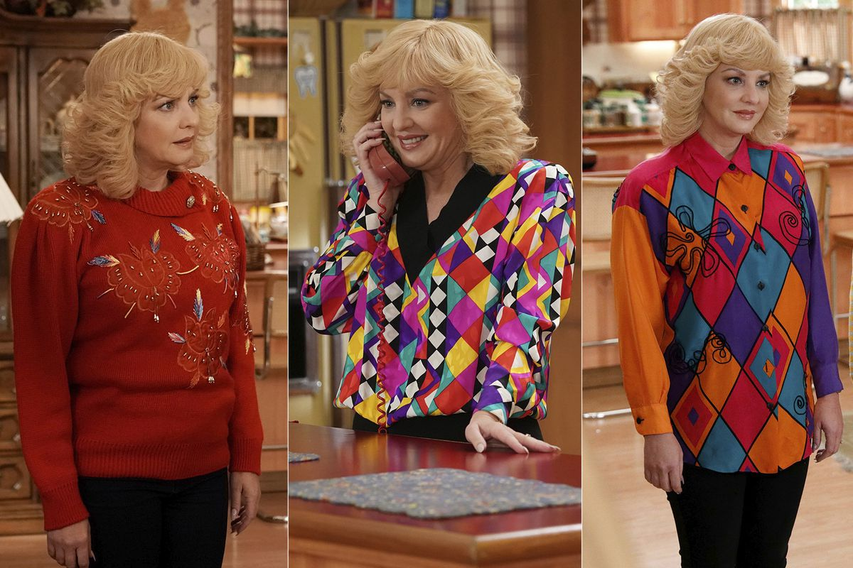 """Actress Wendi McLendon-Covey as Beverly Goldberg in her scene-stealing wardrobe is shown in scenes from the comedy series """"The Goldbergs.""""AP"""