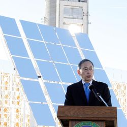 Energy Secretary Steven Chu speaks about distributing renewable resources after touring the National Solar Thermal Test Facility at Sandia National Laboratories in Albuquerque, N.M., in January.