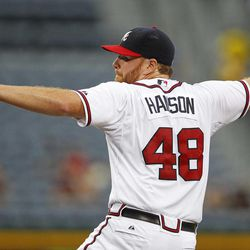 Atlanta Braves starting pitcher Tommy Hanson works  in the first inning of a baseball game against the Colorado Rockies on Tuesday, Sept. 4, 2012, in Atlanta.