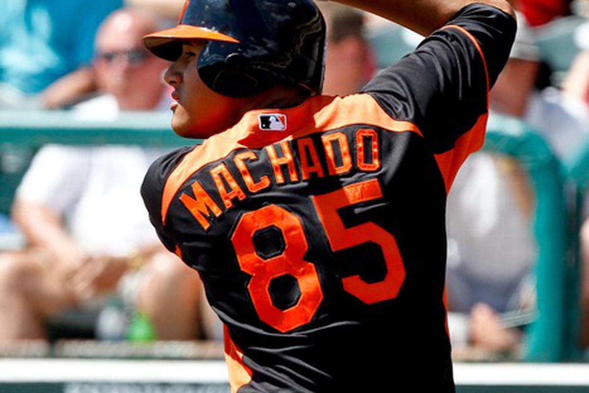 March 18, 2012; Lake Buena Vista, FL, USA; Baltimore Orioles shortstop Manny Machado (85) during a spring training game against the Atlanta Braves at Disney Wide World of Sports complex. Mandatory Credit: Derick E. Hingle-US PRESSWIRE