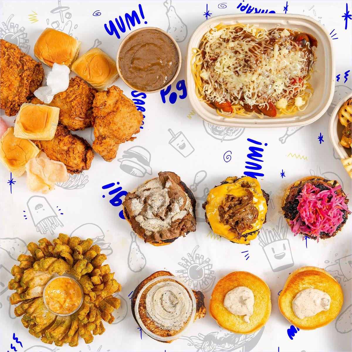 "Sinigang fried chicken, Filipino hot dog spaghetti, burgers, and a bloomin ""sam-Pogi-ta"""