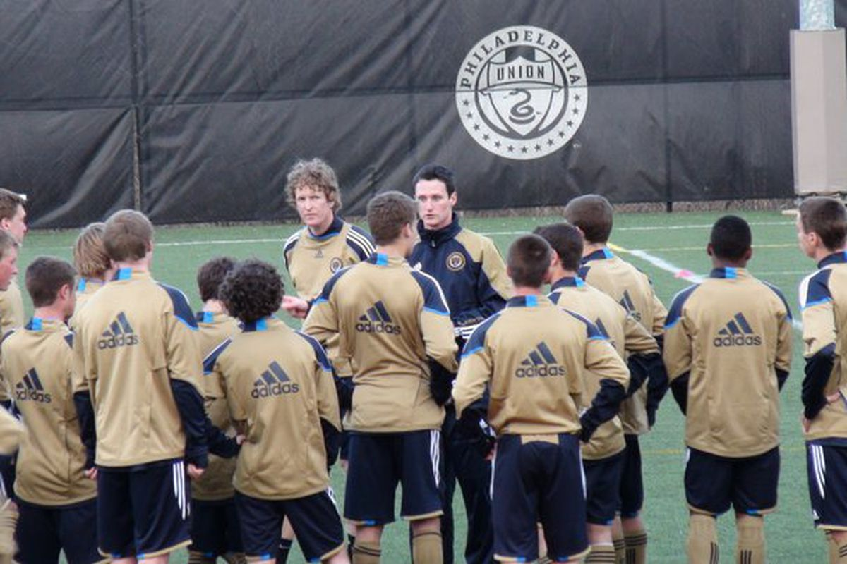 """Union Reserve team and Reading United A.C. coach Brendan Burke leads a training session with the Union U18 Academy team (Photo courtesy of <a href=""""http://www.facebook.com/yscsports?sk=photos"""" target=""""new"""">YSC Sports</a>)"""