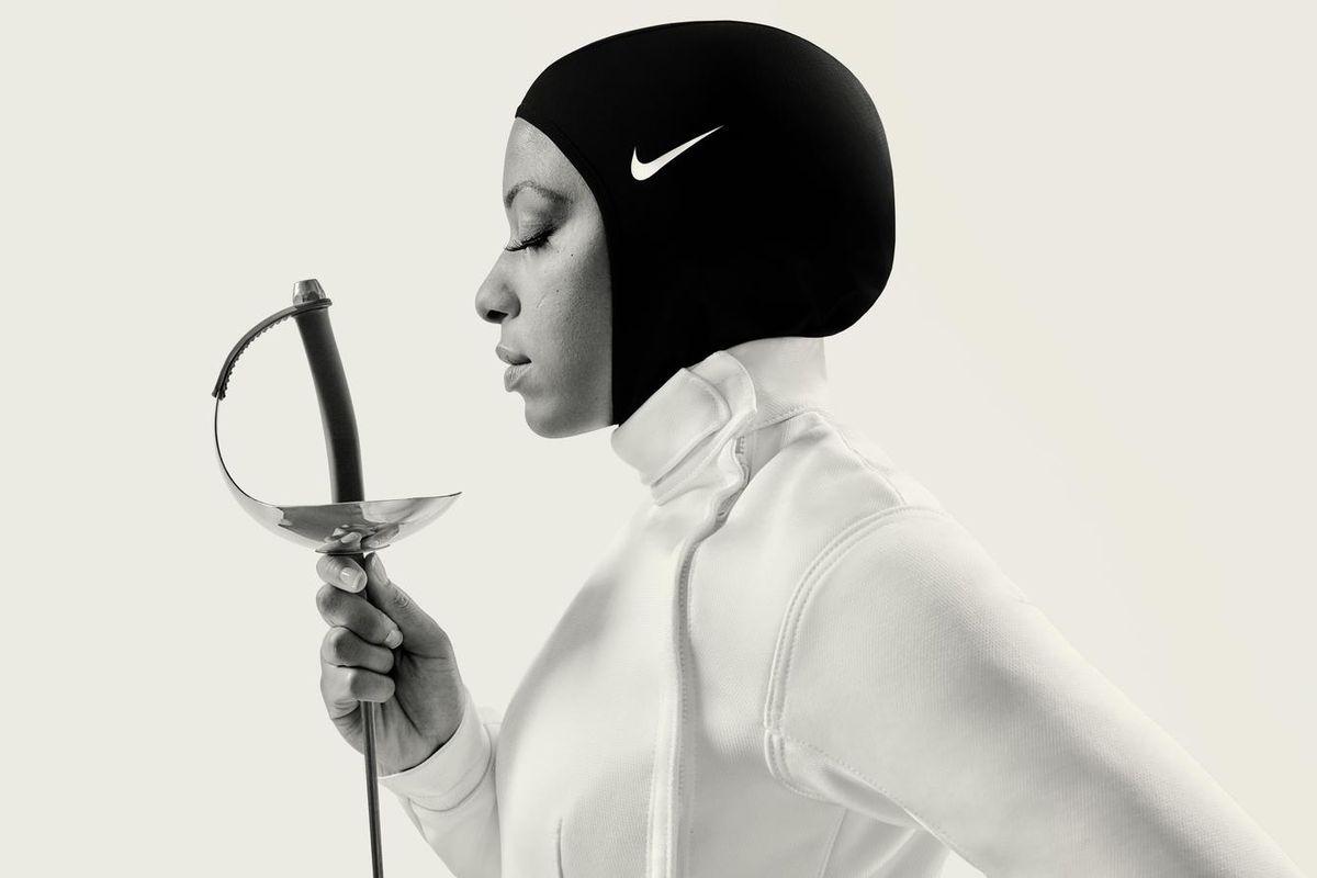 An athlete wearing the Nike Pro Hijab