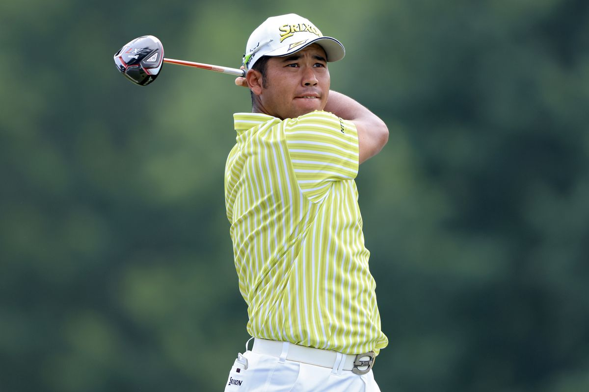 Hideki Matsuyama of Japan plays his shot from the third tee during the final round of the FedEx St. Jude Invitational at TPC Southwind on August 08, 2021 in Memphis, Tennessee.