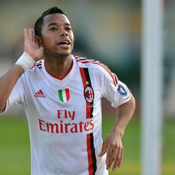 AC Milan forward Robinho, of Brazil, celebrates after scoring during  Serie A soccer match between Catania and AC Milan at the Angelo Massimino stadium in Catania, Italy, Saturday, March 31, 2012.