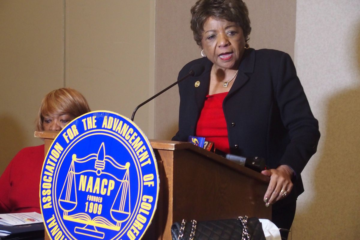 Alice Huffman, chairwoman of the NAACP's National Task Force for Quality Education, speaks during a public hearing in January in Memphis.