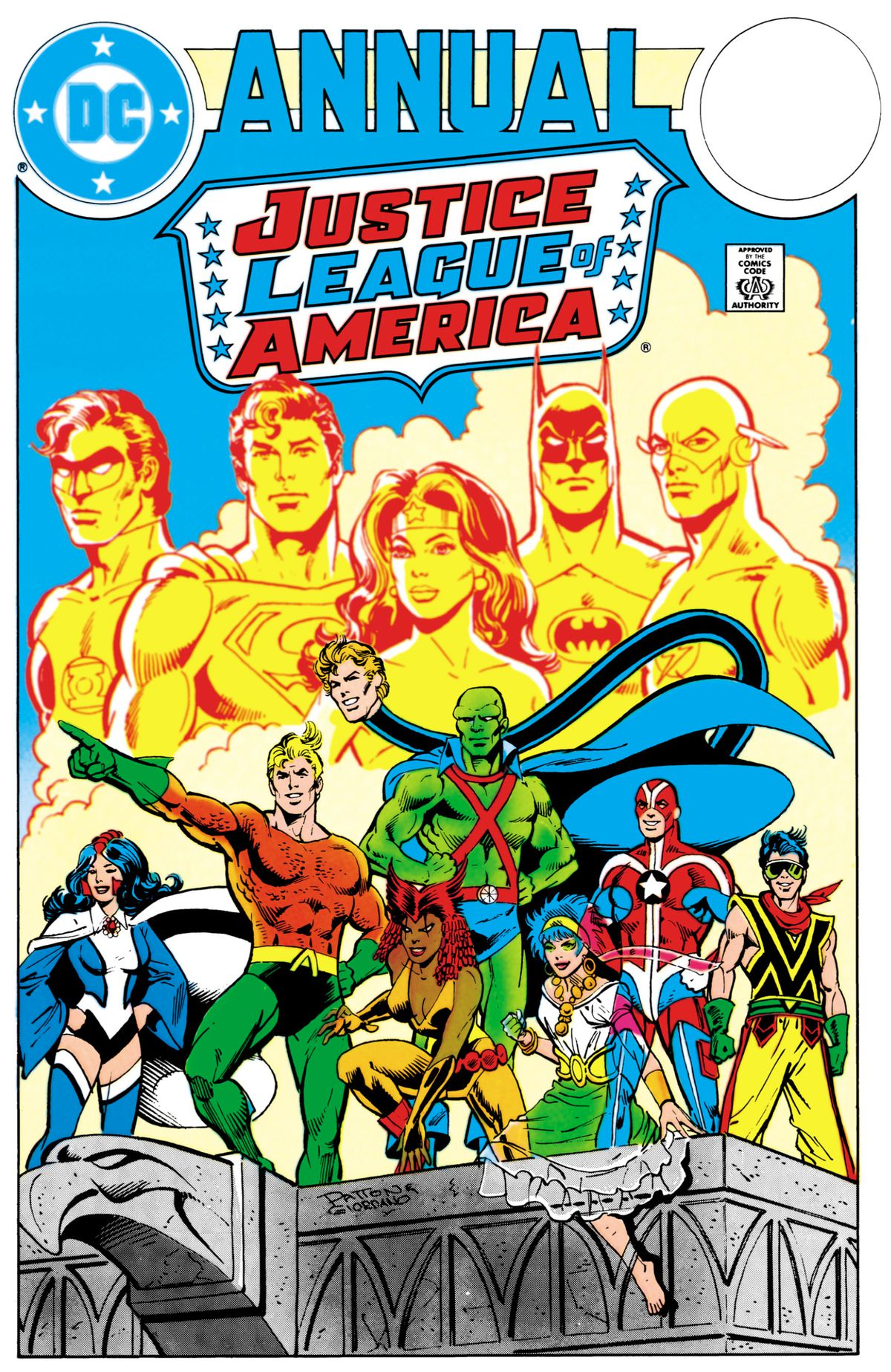 The Justice League of Detroit stands confident, with the shadows of the traditional Justice League behind them on the cover of Justice League Annual #2, DC comics (1984).