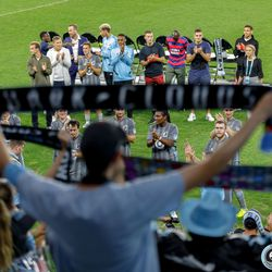 August 14, 2019 - Saint Paul, Minnesota, United States - Fans cheer on the Minnesota United Unified Team as they take on the Colorado Rapids Unified Team in a match at Allianz Field.