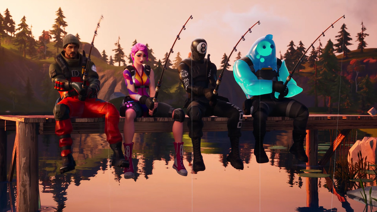 Several Fortnite characters sit on a dock fishing from the trailer for the Chapter 2 battle pass
