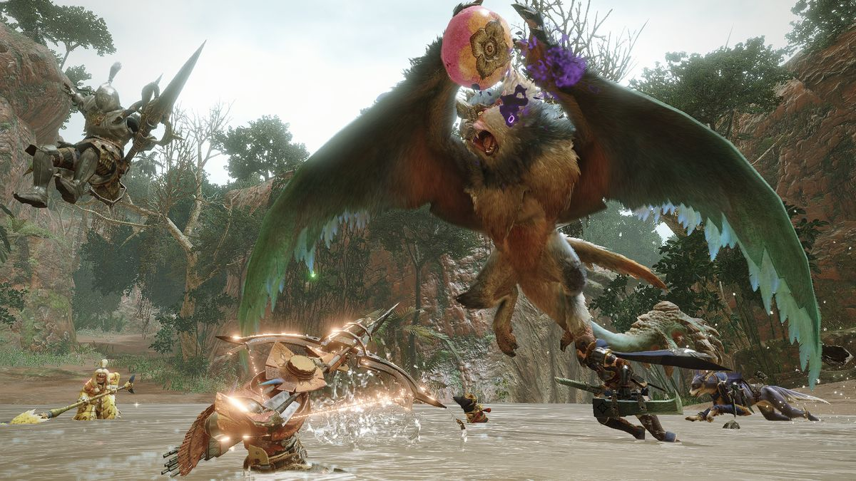 A group of hunters battles a Bishaten in a screenshot from Monster Hunter Rise