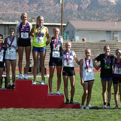 Winners in the girls 2A high school state cross-country championships in Cedar City on Wednesday, Oct. 21, 2020.