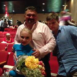 Kerry McGill with his children, Ireland and Greyson, after a dance recital. They're all maneuvering their way through new family dynamics created when McGill and his wife divorced.