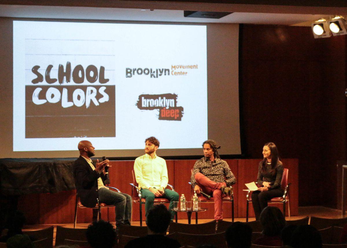 NeQuan McLean, Max Freedman, Mark Winston Griffith and Christina Veiga discuss School Colors at the Brooklyn Public Library on Dec. 17, 2019. PHOTO CREDIT:Reema Amin/Chalkbeat