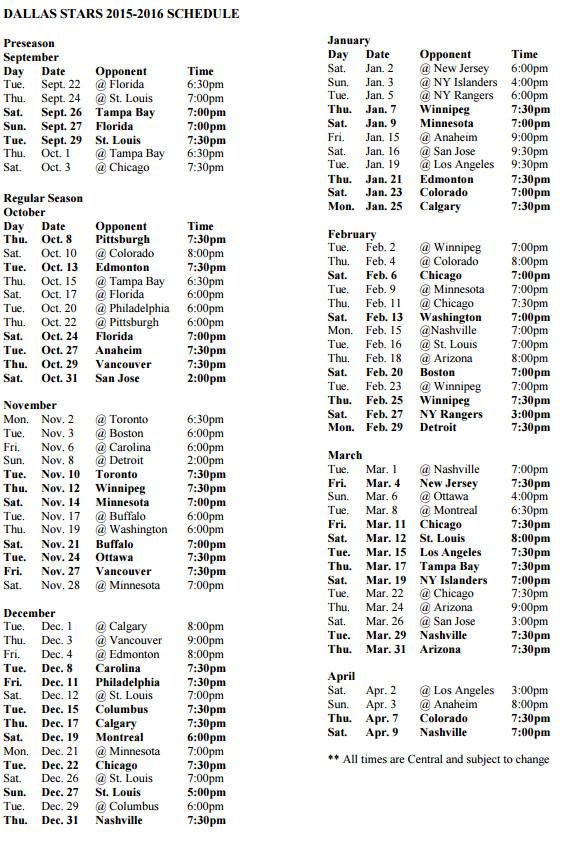 2015-2016 Schedule