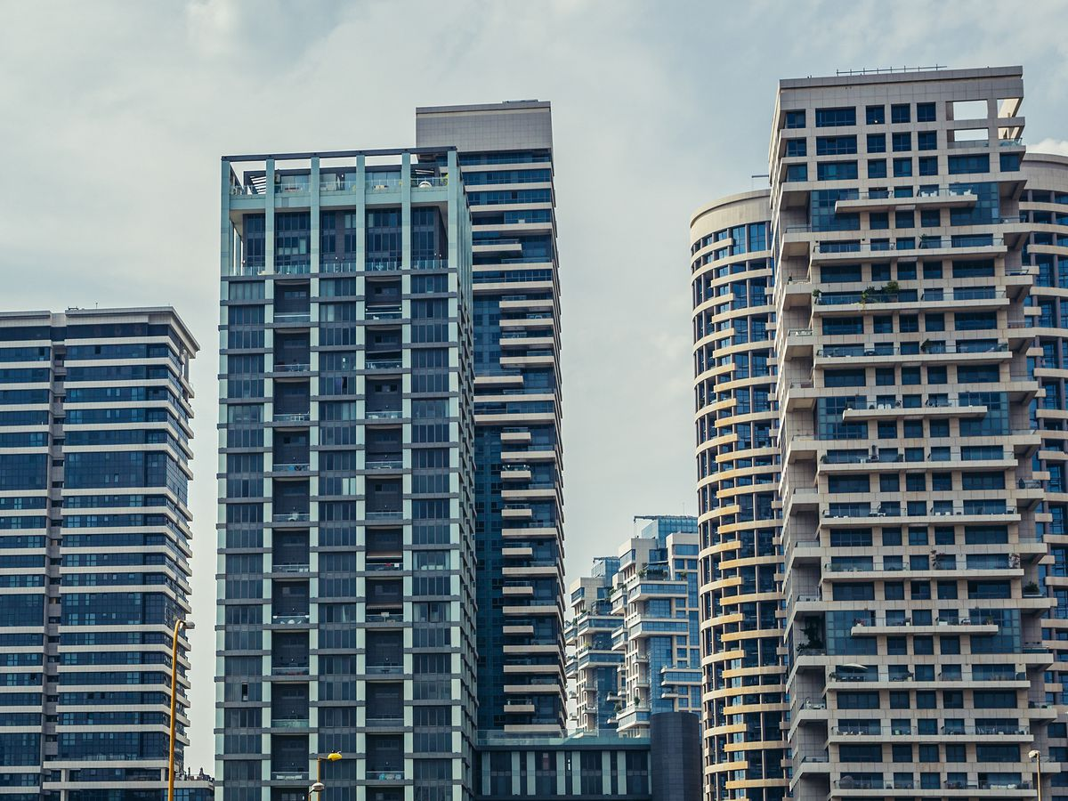 A group of tall city buildings in Tel Aviv.