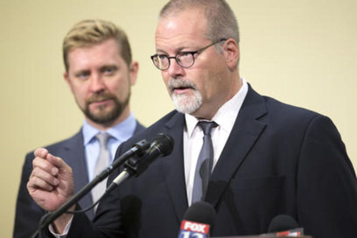 FILE — Senator Stephen Urquhart makes a few points as he joins members of the Capitol 13 Friday, March 6, 2015, at a press conference in Support of SB296. A bill that would define the parameters for a hate crime and increase the penalties for it passed a