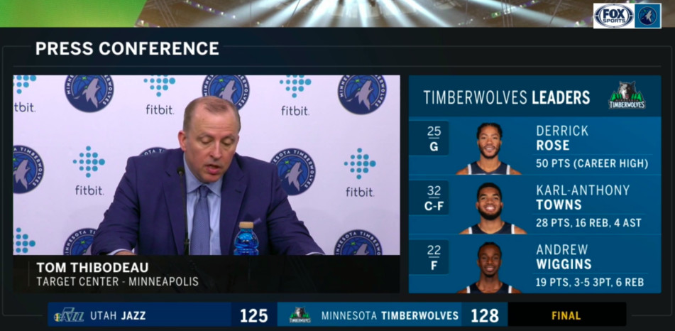 The Fox Sports North post game using both the new Wolves logo and the previous Wolves logo on different parts of the screen. It looks sloppy.