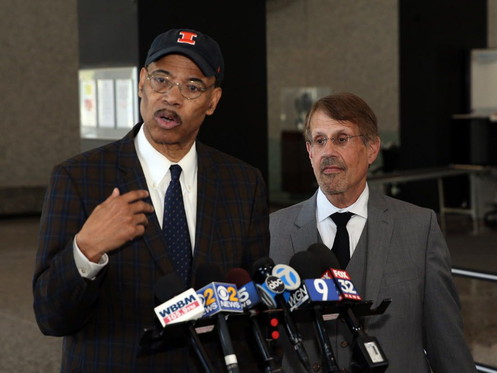Mel Reynolds with his legal advisor, Richard Kling after his sentencing hearing at the Dirksen Federal Building Thursday, May 10, 2018.   Kevin Tanaka/For the Sun Times