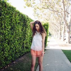 """Rumi of <a href=""""http://www.fashiontoast.com""""target=""""_blank"""">Fashion Toast</a> is wearing a Rag & Bone tank top, Lover The Label shorts and Céline sandals."""