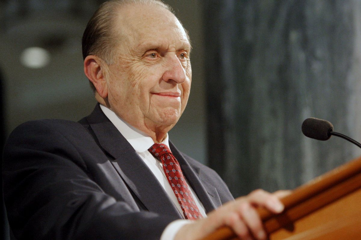 President Thomas S. Monson smiles as he looks at the audience in the grand lobby. The Former Hotel Utah and current Joseph Smith Memorial building turns 100 Thursday, June 9, 2011.