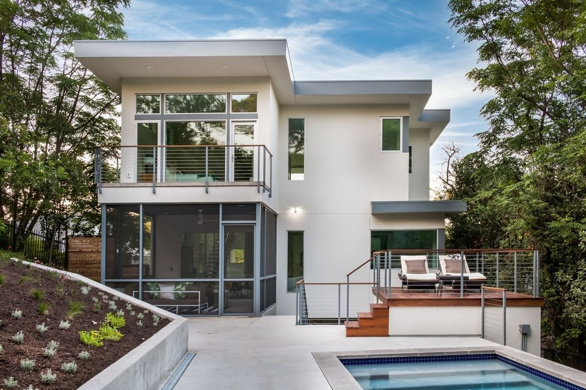 Two-story glass-and-stucco contemporary