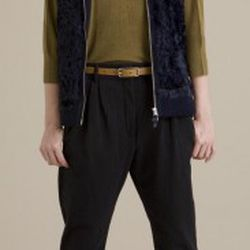 Leroy & Perry fur front vest, $85 (was $595); fleece trousers, $45 (were $250); bamboo silk boatneck $30 (was $245)