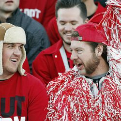 Southern Utah fans Trey Gunderson and Reyce Knutson wait for the football game against Weber State to begin in Cedar City on Saturday, Dec. 2, 2017.