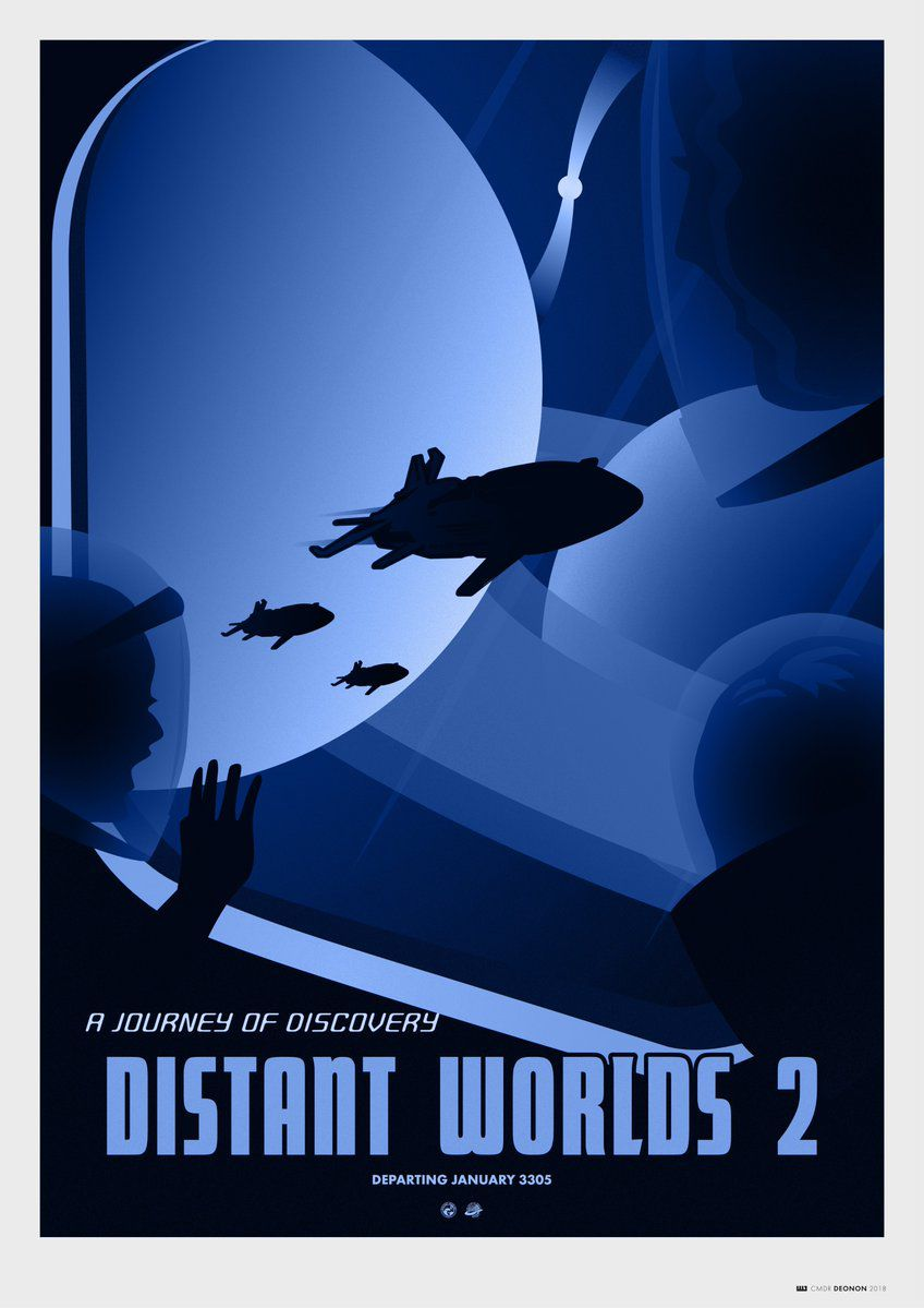 A promotional poster for the Distant Worlds 2 expedition in Elite: Dangerous, done up to match NASA's own series, Visions of the Future.