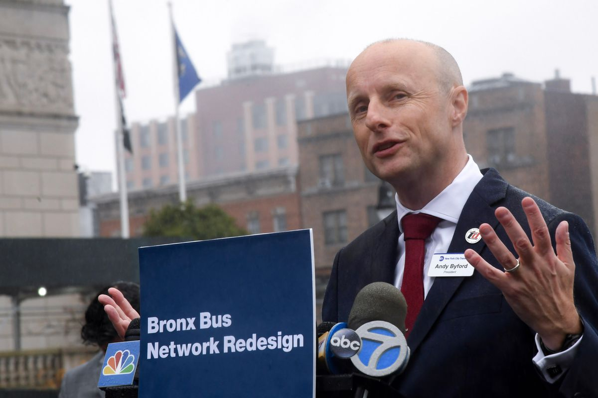 New York City Transit President Andy Byford announces Bronx bus redesign, Oct. 22, 2019.