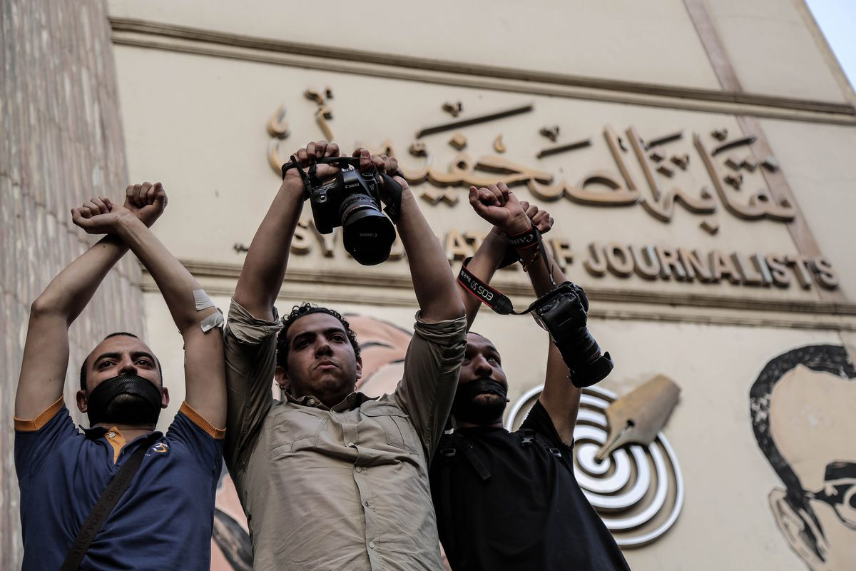 Egyptian journalists gathered in front of the Journalists Union stage a demonstration to protest the detention of two journalists by the Egyptian security forces in Cairo, Egypt, on May 3, 2016.
