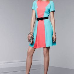 Short-sleeve dress in Calypso coral/Atlantis, $39.99; miniaudiere in Nolita print, $34.99; ankle-strap pumps in Dresden blue, $39.99