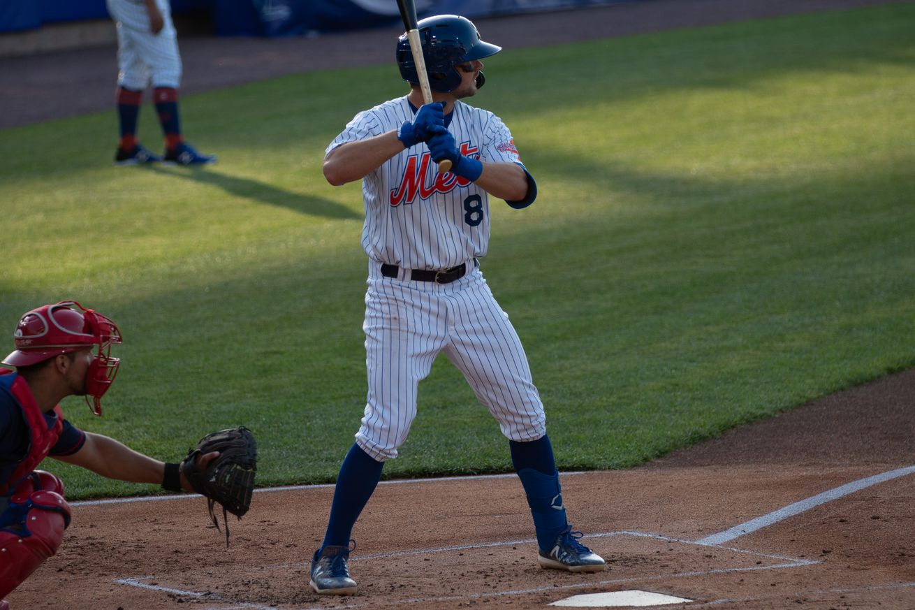 David Thompson during a Syracuse Mets game on May 20, 2021.