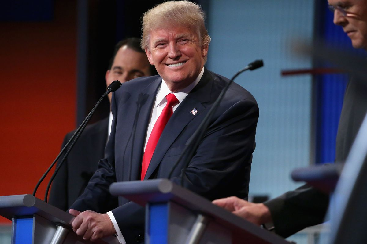 Republican presidential candidate Donald Trump participates in the first prime-time presidential debate hosted by Fox News and Facebook at the Quicken Loans Arena August 6, 2015, in Cleveland, Ohio.