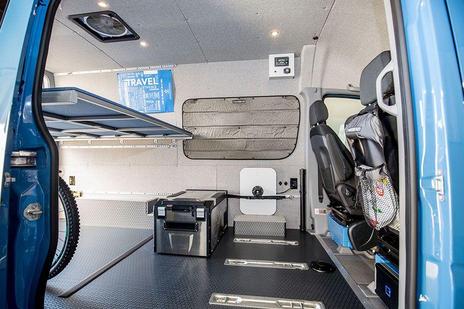 The interior of a camper van.