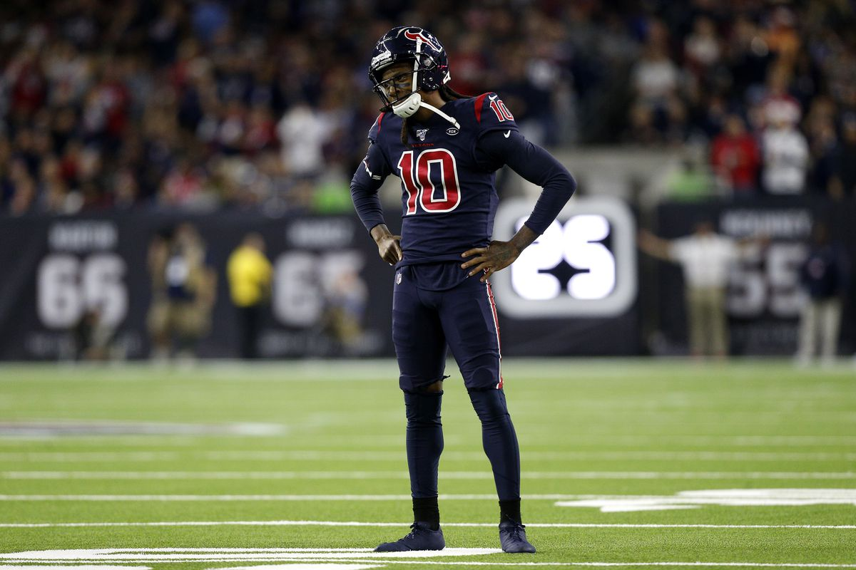 DeAndre Hopkins of the Houston Texans reacts against the New England Patriots during the first quarter in the game at NRG Stadium on December 01, 2019 in Houston, Texas.