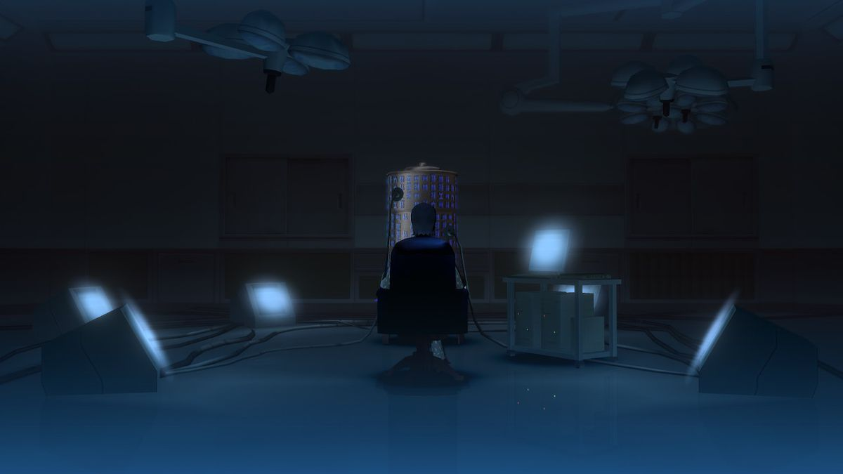 In SMT 3 HD, a character sits in a darkened room surrounded by a circle of dim spotlights