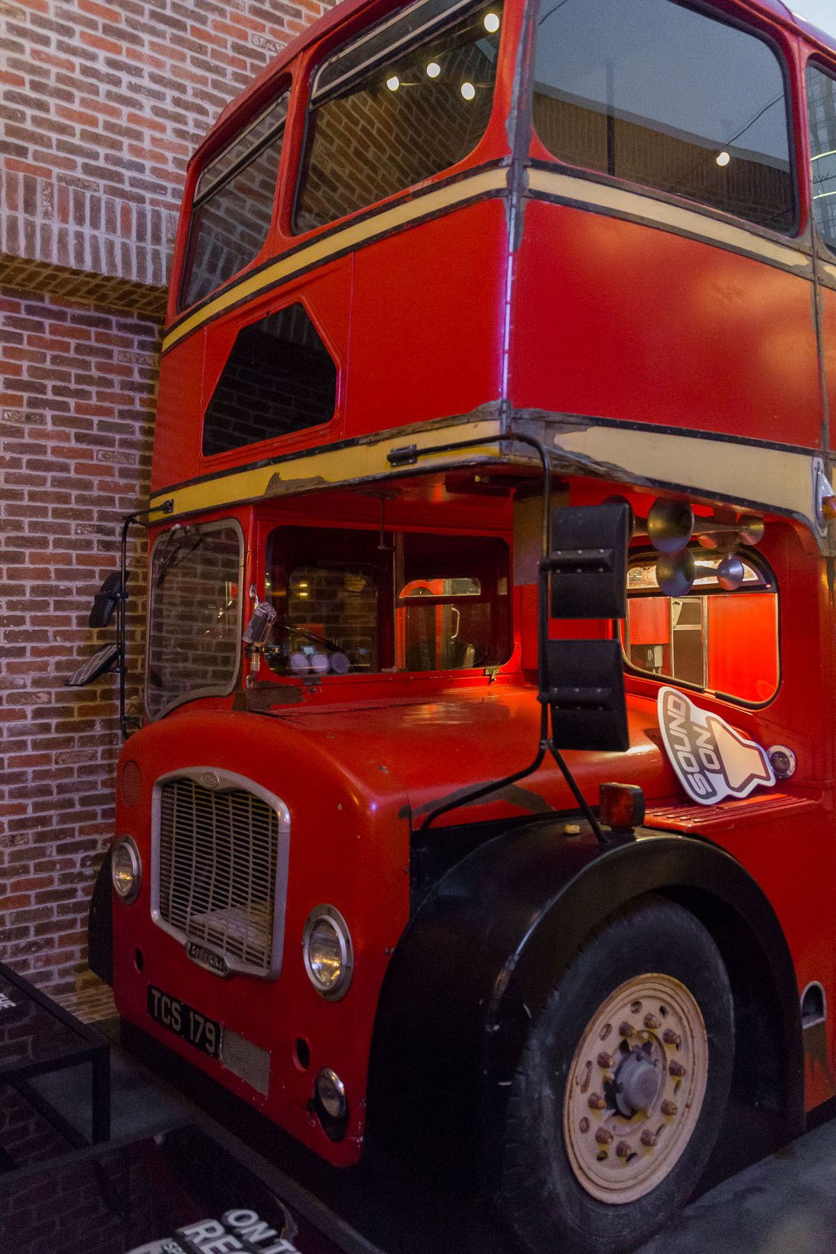 The double decker bus on the patio at On the Record