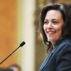 Former Utah House Speaker Becky Lockhart smiles during the Legislature at the state Capitol in Salt Lake City Tuesday, Jan. 28, 2014. Lockhart passed away in her home Saturday, from an unrecoverable and extremely rare neurodegenerative brain disease.
