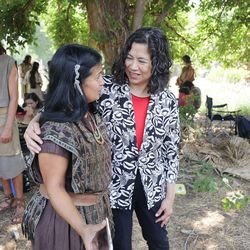 Sister Reyna Aburto, right, second counselor in the Relief Society general presidency of The Church of Jesus Christ of Latter-day Saints, speaks to extra Stella Hall from Gilbert, Arizona, as t church's production of the fourth season of Book of Mormon videos is filmed near Springville on Monday, July 26, 2021.